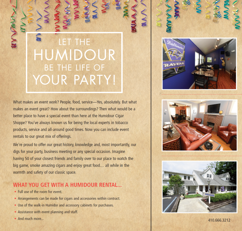 Humidour Ravens Room, Club Zorba Lounge, and more available for rent/