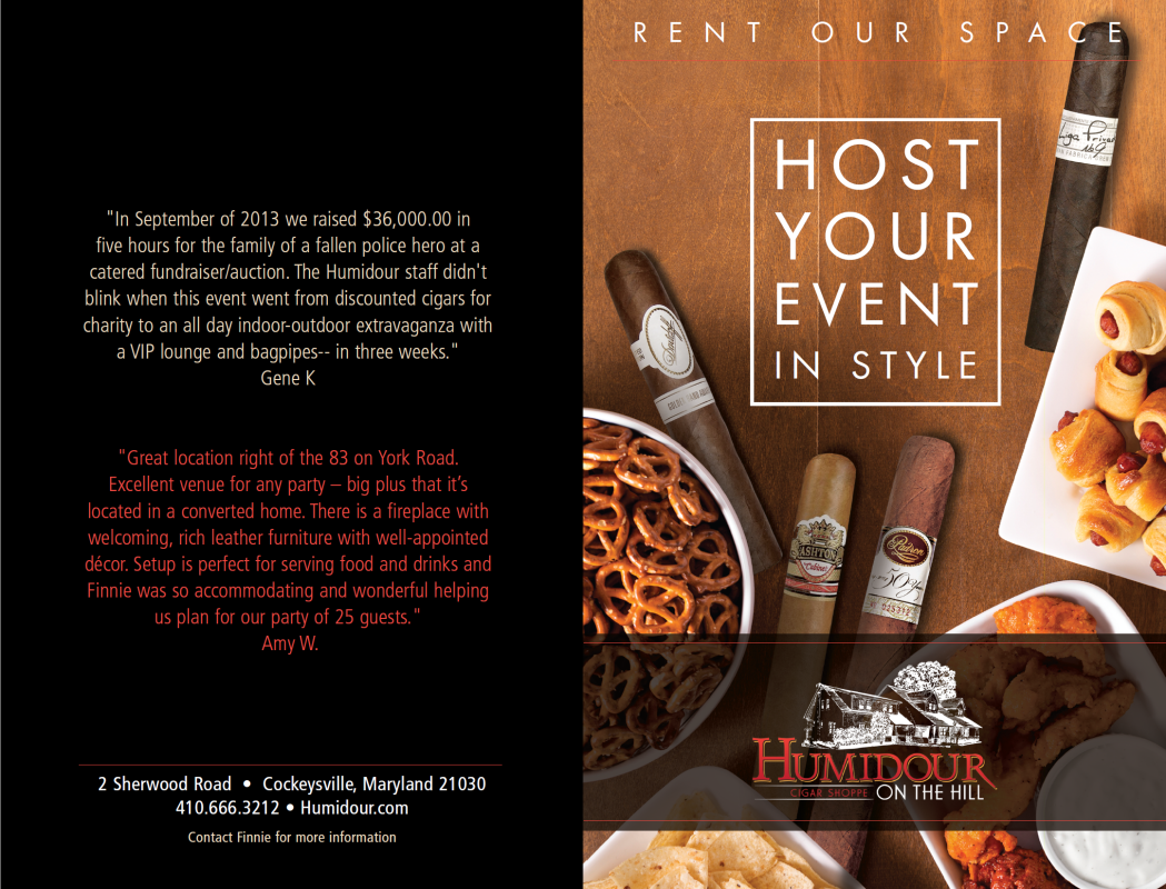 Host your Event in Style at the Humidour on the Hill in Cockeysville, MD.